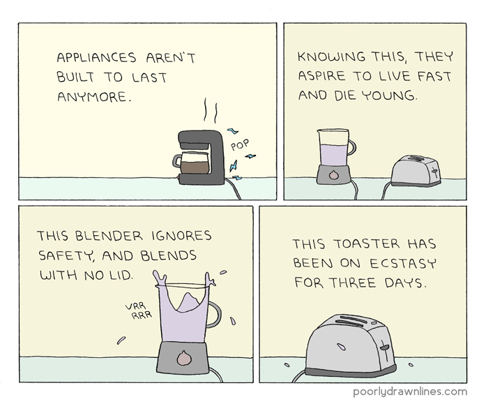 Funny clone comics: That Toaster's Such a Burnout, Man