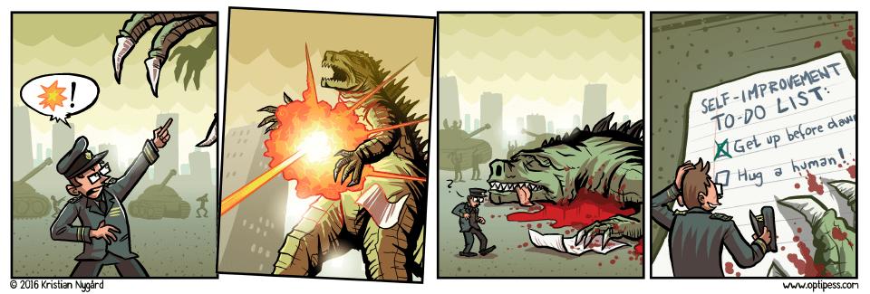 Comics Goodzilla Was Just Trying to Make Headway on His Path Toward Self-Improvement