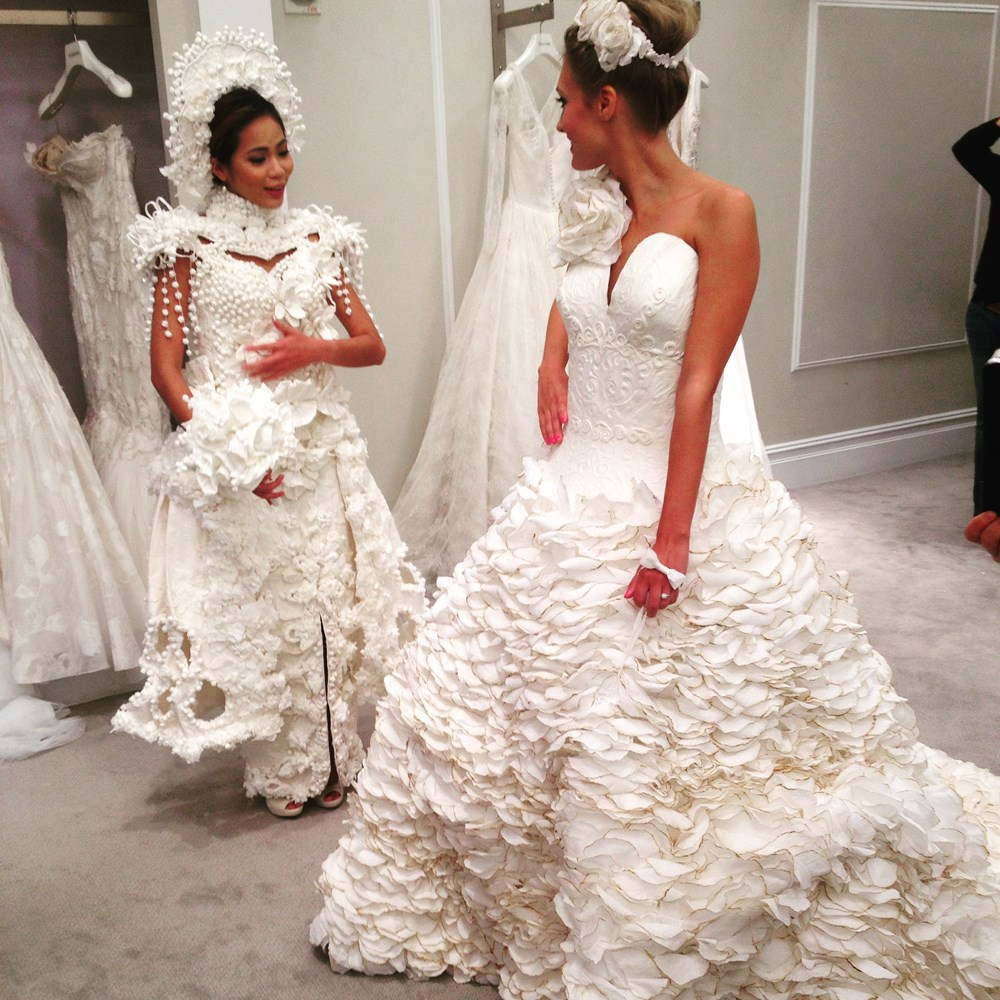 These wedding dresses are made of toilet paper and they for Have wedding dress made
