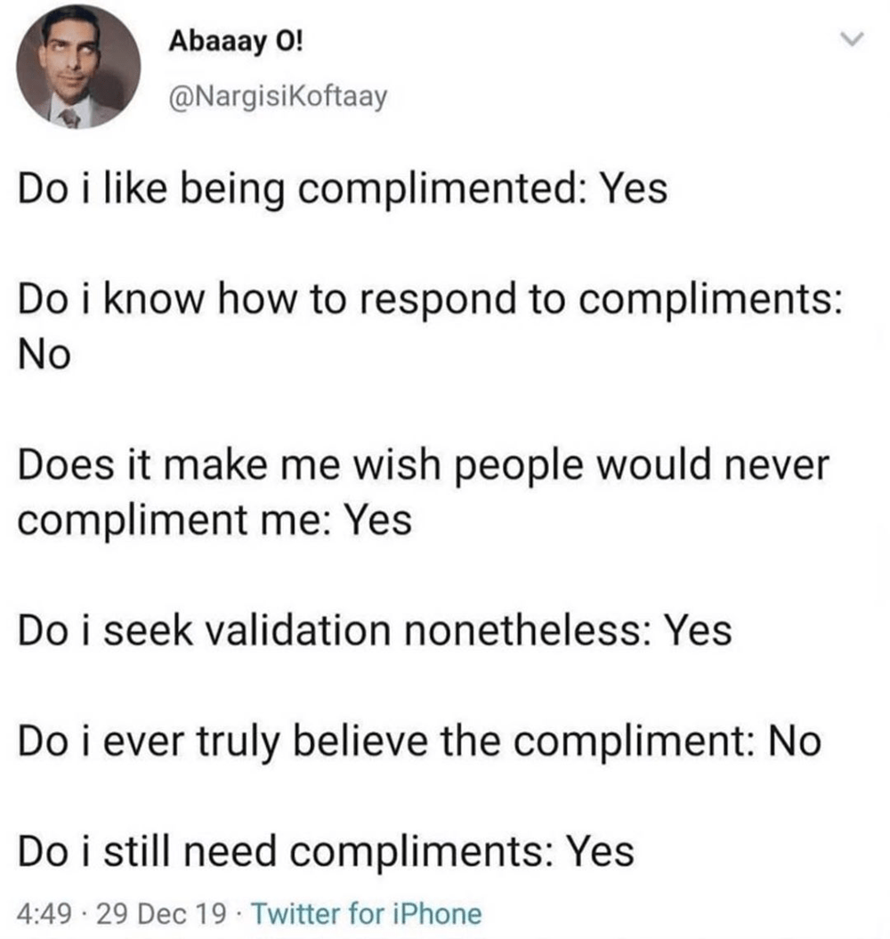 Never me boyfriend my compliments My husband