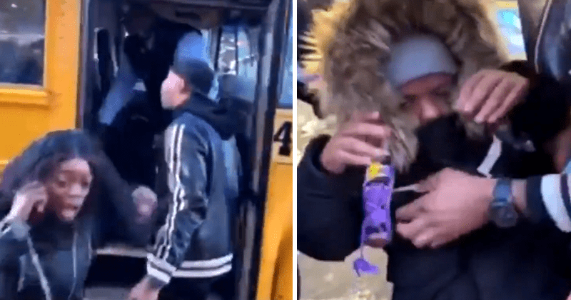 Video School Bus Driver Violently Throws 'Kid' Off Of Bus, Shocks Ignorant Passersby
