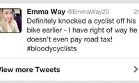 The original tweet. Stupid cyclists getting in my way! #QueenOfTheRoad