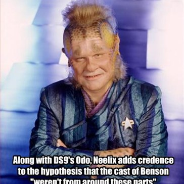 """Along with DS9's Odo, Neelix adds credence to the hypothesis that the cast of Benson """"weren't from around these parts"""""""