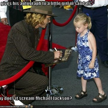 He gives his autograph to a little girl in sandals  Why does it scream Michael Jackson?