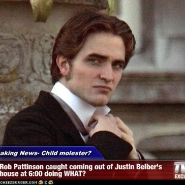 Breaking News- Child molester? - Rob Pattinson caught coming out of Justin Beiber's house at 6:00 doing WHAT?