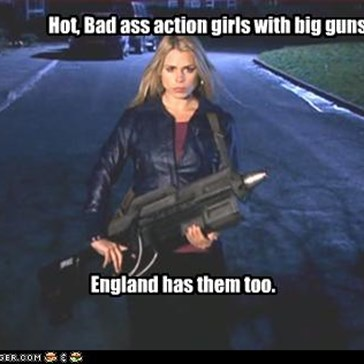 Hot, Bad ass action girls with big guns.