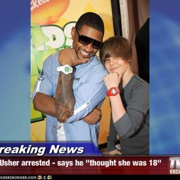 "Breaking News - Usher arrested - says he ""thought she was 18"""