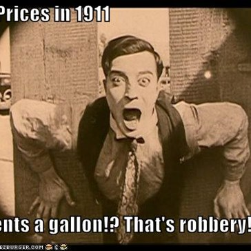 "Gas Prices in 1911  ""4 cents a gallon!? That's robbery!"""