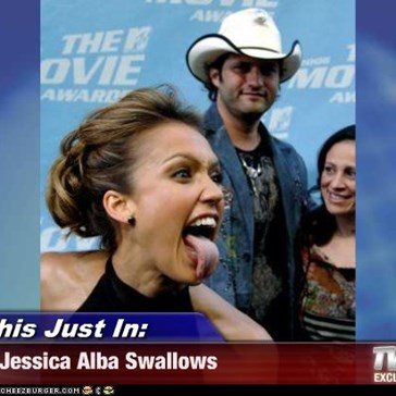 This Just In: - Jessica Alba Swallows