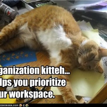 organization kitteh... helps you prioritize your workspace.