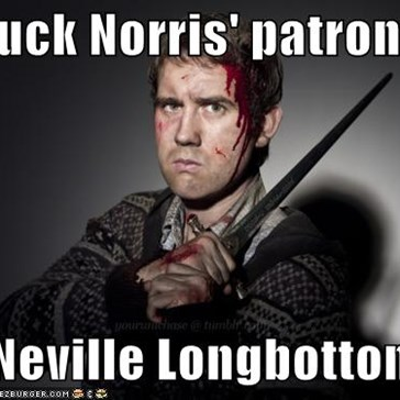 Chuck Norris' patronus  is Neville Longbottom