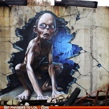 3D Gollum Wall Graffiti