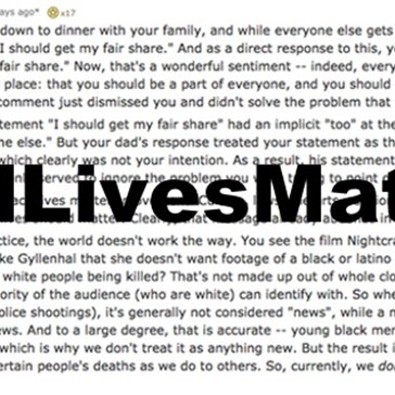 "One Simple Reddit Analogy Explains Why You Should Never Respond With ""All Lives Matter"""
