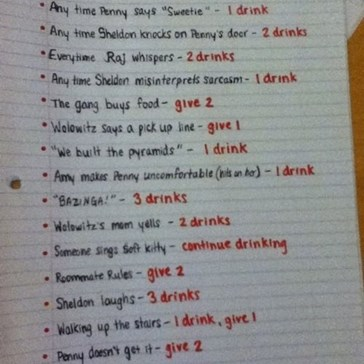 """The Big Bang Theory"" Drinking Game"