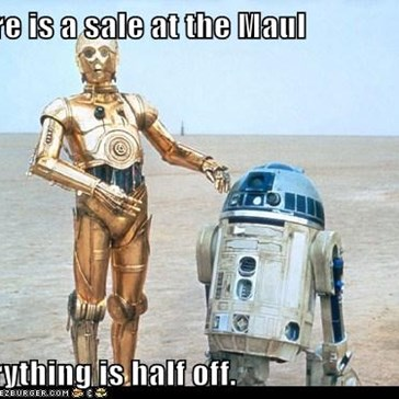 There is a sale at the Maul  everything is half off.