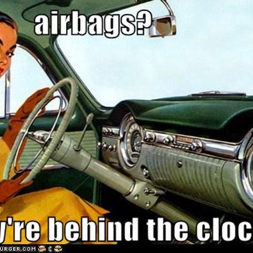 airbags?  they're behind the clock