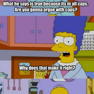 Homer Explains Why Caps Lock is King