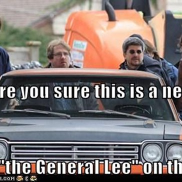 "Dean, are you sure this is a new car? It says ""the General Lee"" on the top."
