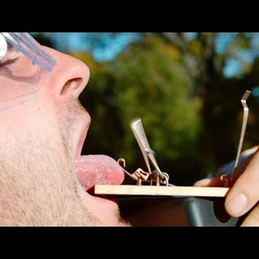 You'll Wince Watching a Guy's Tongue Get Caught in a Mouse Trap in Slow Mo