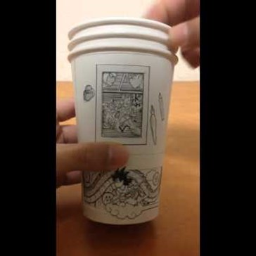 Moving DBZ Art Created Entirely on Paper Cups