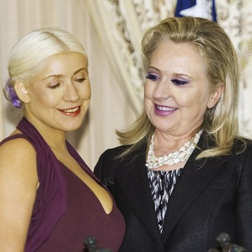 The Infamous Picture of Hillary Clinton Staring at Christina Aguilera's Chest Finally Got the Photoshop Battle It Deserves