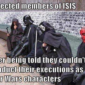 Dejected members of ISIS  after being told they couldn't conduct their executions as Star Wars characters