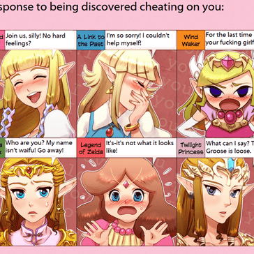 How Zelda responds when caught cheating on you...