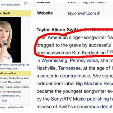 Some Enterprising Prankster Changed Taylor Swift's Wikipedia After the Latest Swift v Kimye Controversy