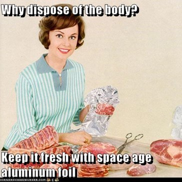 Why dispose of the body?  Keep it fresh with space age aluminum foil