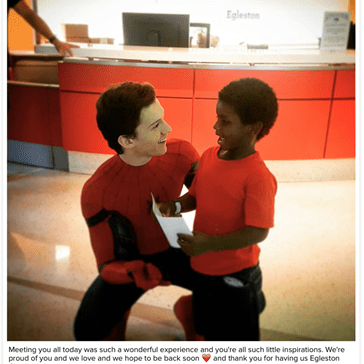 Tom Holland Visits Children's Hospital Dressed up as Spider-Man
