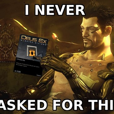 Adam Jensen Is Not Stoked on In-Game Purchases