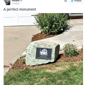 "Brothers Troll Their Entire Neighborhood by Installing a Beautiful ""Monument"" in Their Parent's Yard"