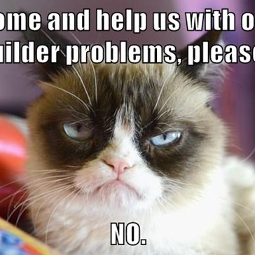 Come and help us with our builder problems, please?  NO.