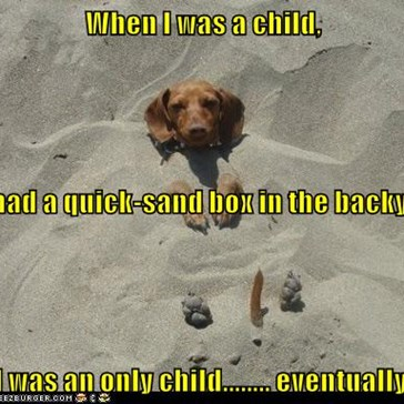 When I was a child, We had a quick-sand box in the backyard. I was an only child........ eventually.