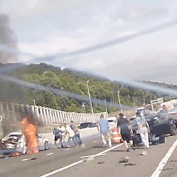 Watch This Amazing Dashcam Footage of Heroic Citizens Rescuing Someone From a Burning Car, Right After a Massive Car Crash