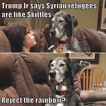 Trump Jr says Syrian refugees are like Skittles  Reject the rainbow?