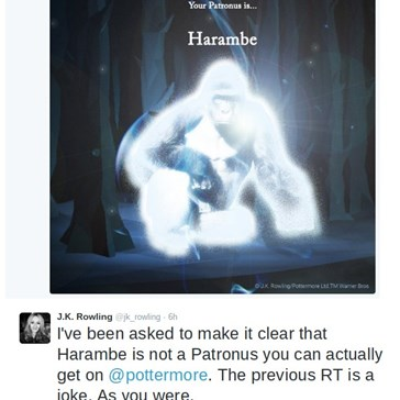 J.K. Rowling Is Forced to Point Out That Harambe Is Not a Patronus