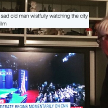Sad Bernie Sanders Watching the Debate Is All of Us