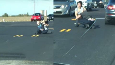 Video of two women having a total freakout in road rage incident.