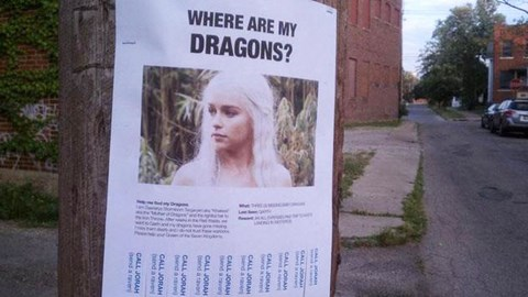 "Funny IRL Troll posters, fake missing posters, funny missing posters, cats, dogs, animals, game of thrones, politics, star wars. cover photo is daenerys targaryen and poster says ""where are my dragons?"""