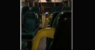 Funny video taken by a passenger on a bus driven by a driver who thinks there's no one on the bus