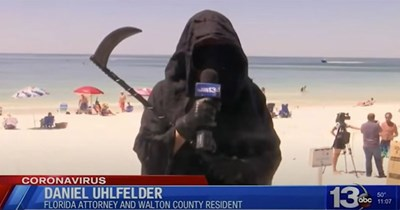 Funny video of a guy dressed up as the Grim Reaper protesting the Florida beaches reopening amid the COVID-19 pandemic