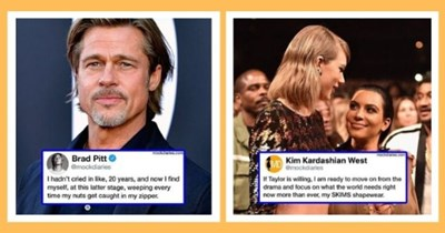 mock diary celebrities satire instagram humor funny mocking interview | mockdiaries.com Brad Pitt @mockdiaries hadn't cried like, 20 years, and now find myself, at this latter stage, weeping every time my nuts get caught my zipper. | mockdiaries.com MD Kim Kardashian West @mockdiaries If Taylor is willing am ready move on drama and focus on world needs right now more than ever, my SKIMS shapewear.