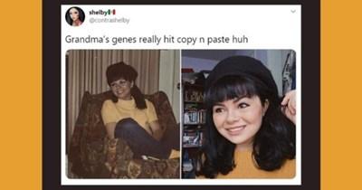 family genes copy paste twitter thread genetics mirror   shelbyle @contrashelby Grandma's genes really hit copy n paste huh 2:39 AM May 24, 2020 Twitter iPhone 45.5K Retweets 554.6K Likes >