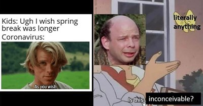 Funny memes about the movie 'The Princess Bride' | Kids: Ugh wish spring break longer Coronavirus: As wish | literally anything Is this inconceivable? is this a pigeon butterfly meme