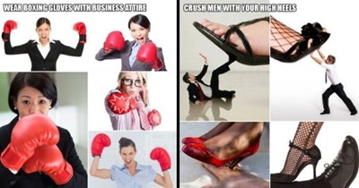 funny stock photography on how to be a feminist | thumbnail includes pictures of women using boxing gloves and standing on men | text - WEAR BOXING GLOVES WITH BUSINESS ATTIRE