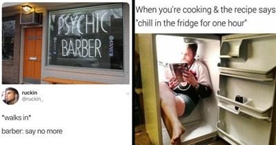 "Funny Memes, Random Memes, Dank Memes, 2020 Memes, Stupid Memes | Dylan @imdumbhard PSYCHIC BARBER ruckin @ruckin_ walks barber: say no more | cooking recipe says ""chill fridge one hour"" man reading magazine inside a fridge"