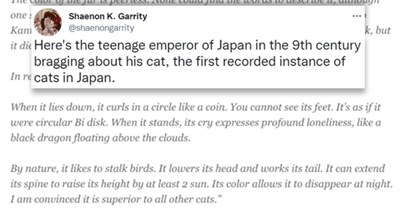 """tweets about a teenage emperor's diary entry where he brags about his cat 