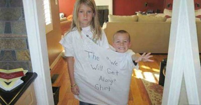 "Kids wearing the ""We Will Get Along Shirt"" - cover image to a list of sibling rivalry photos"