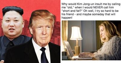 Funny memes about Donald Trump tweet calling Kim Jong-Un short and fat.